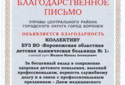 Благодарственное письмо от Управы Центрального района г.Воронежа